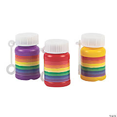 Rainbow Mini Bubble Bottles - 24 Pc.