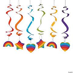 Rainbow Party Hanging Swirl Decorations - 12 Pc.
