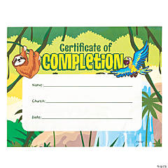 Rainforest VBS Certificates of Completion