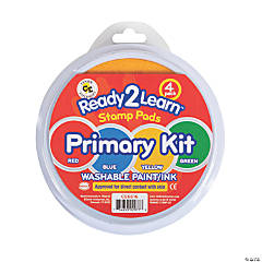 Ready 2 Learn® Jumbo Circular Washable Stamp Pads, Primary, Set of 4