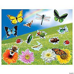 Realistic Bugs & Flowers Sticker Scenes
