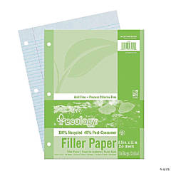 "Recycled Filler Paper, White, 3-Hole Punched, College Ruled w/Margin, 8-1/2"" x 11"", 150 Sheets Per Pack, 12 Packs"
