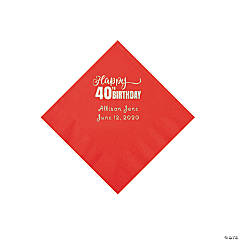 Red 40th Birthday Personalized Napkins with Silver Foil - Beverage