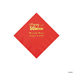 Red 50th Birthday Personalized Napkins with Gold Foil - Beverage
