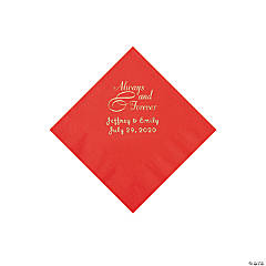 Red Always & Forever Personalized Napkins with Silver Foil - Beverage