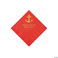 Red Anchor Personalized Napkins with Gold Foil - Beverage