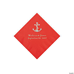 Red Anchor Personalized Napkins with Silver Foil - Beverage