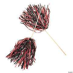 Red & Black Two-Tone Spirit Cheer Pom-Poms - 24 Pc.