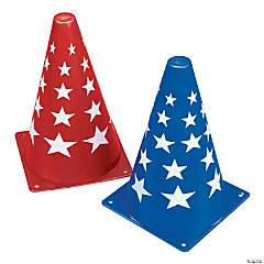 Red & Blue Patriotic Traffic Cones
