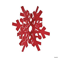 Red & Silver Glitter Snowflake Centerpiece
