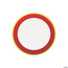 Red & White Premium Plastic Dessert Plates with Gold Border