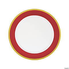 Red & White Premium Plastic Dinner Plates with Gold Border