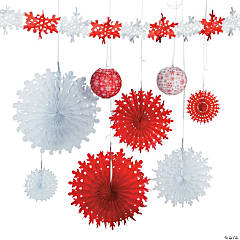 red white snowflake assortment - Christmas Ceiling Decorations