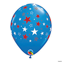 Red & White Stars on Blue Latex Balloons