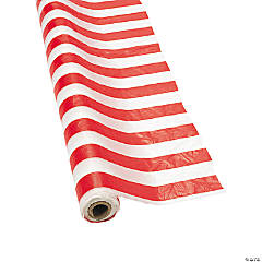 Red & White Striped Plastic Tablecloth Roll