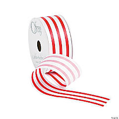 Red & White Striped Satin Ribbon
