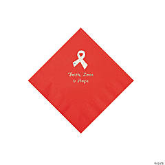 Red Awareness Ribbon Personalized Napkins with Silver Foil - Beverage