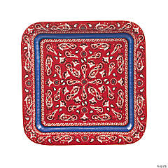 Red Bandana Square Paper Dinner Plates - 8 Ct.