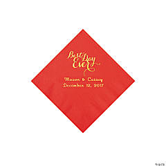 Red Best Day Personalized Napkins with Gold Foil – Beverage