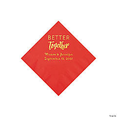 Red Better Together Personalized Napkins with Gold Foil - Beverage