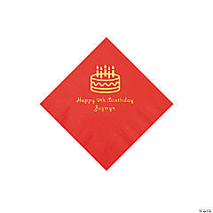 Red Birthday Cake Personalized Napkins with Gold Foil - Beverage