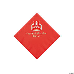 Red Birthday Cake Personalized Napkins with Silver Foil - Beverage