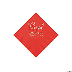Red Blessed Personalized Napkins with Silver Foil - Beverage