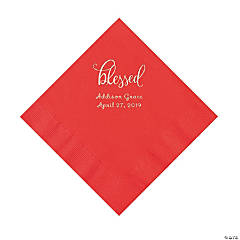 Red Blessed Personalized Napkins with Silver Foil - Luncheon