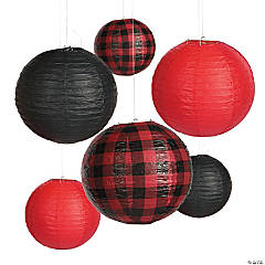 Red Buffalo Plaid Paper Lanterns