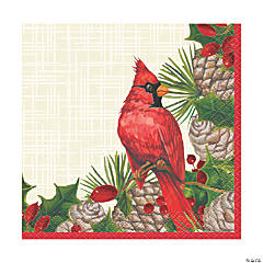 Red Cardinal Christmas Beverage Napkins
