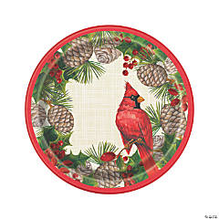 Red Cardinal Christmas Dessert Plates