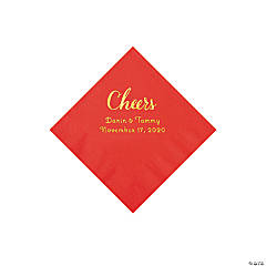 Red Cheers Personalized Napkins with Gold Foil - Beverage