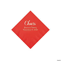 Red Cheers Personalized Napkins with Silver Foil - Beverage