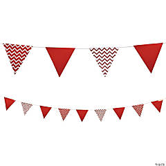 Red Chevron Cardboard Pennant Banner