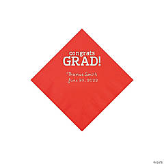 Red Congrats Grad Personalized Napkins with Silver Foil - Beverage