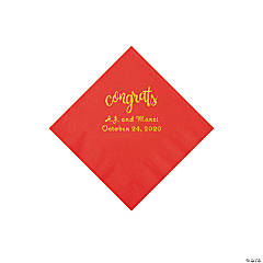 Red Congrats Personalized Napkins with Gold Foil - Beverage