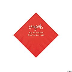 Red Congrats Personalized Napkins with Silver Foil - Beverage