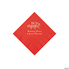 Red Engaged Personalized Napkins with Silver Foil - Beverage