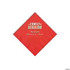 Red Family Reunion Personalized Napkins with Silver Foil - Beverage