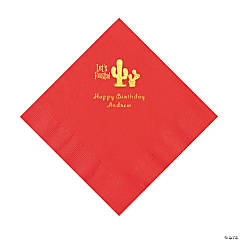Red Fiesta Personalized Napkins with Gold Foil - Luncheon