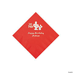 Red Fiesta Personalized Napkins with Silver Foil - Beverage