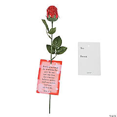 Red Foil-Wrapped Chocolate Roses with John 3:16 Card