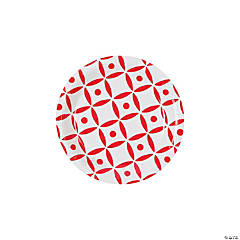 Red Geometric Dessert Plates