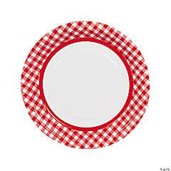 Red Gingham Dinner Plates