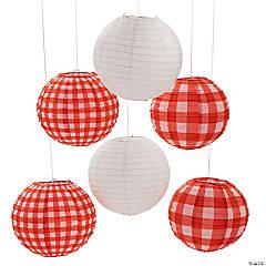 Red Gingham Hanging Paper Lanterns