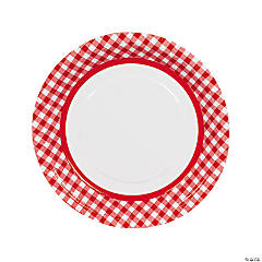 Red Gingham Paper Dinner Plates - 24 Ct.