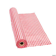 Red Gingham Plastic Tablecloth Roll