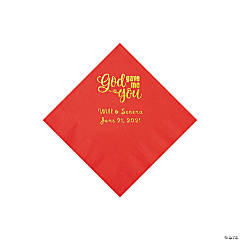 Red God Gave Me You Personalized Napkins with Gold Foil - Beverage