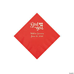 Red God Gave Me You Personalized Napkins with Silver Foil - Beverage