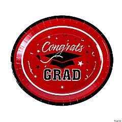 Red Graduation Paper Banquet Plates - 25 Ct.